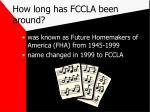how long has fccla been around