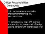 officer responsibilities continued