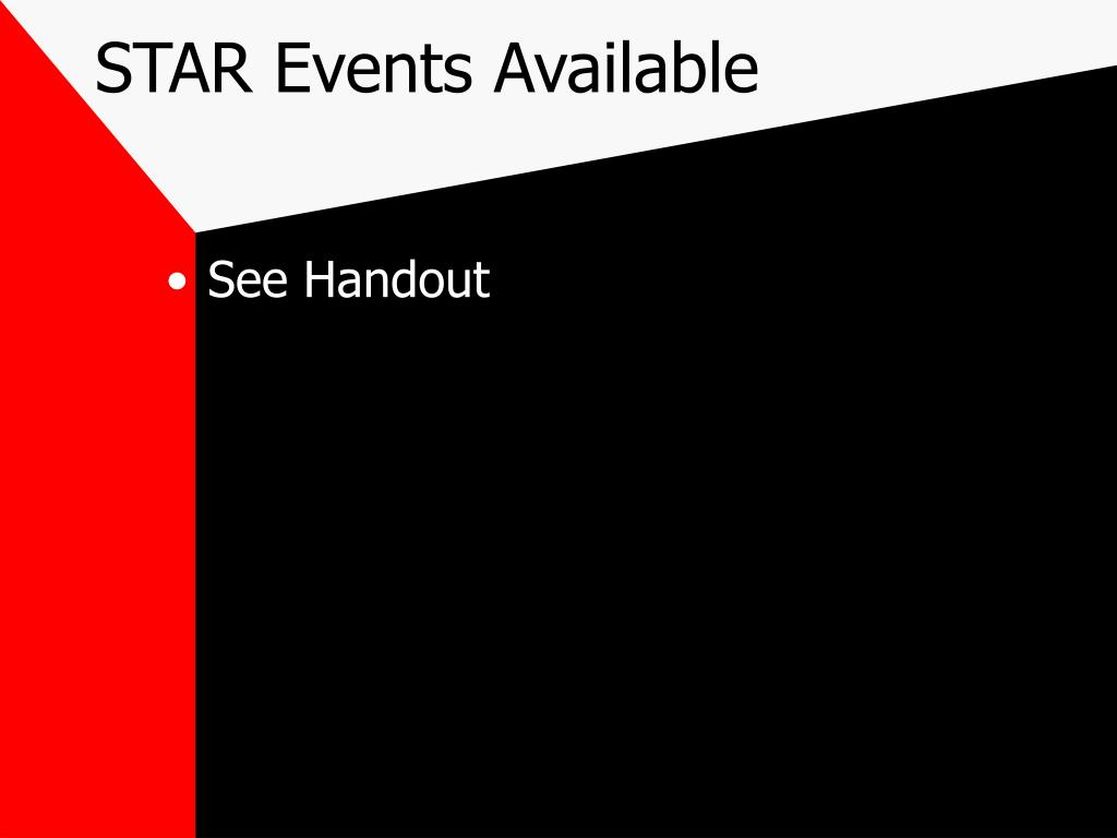 STAR Events Available