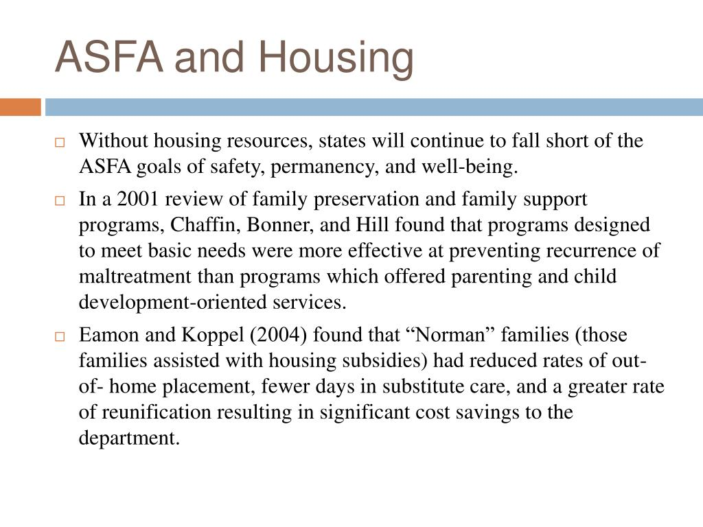 ASFA and Housing