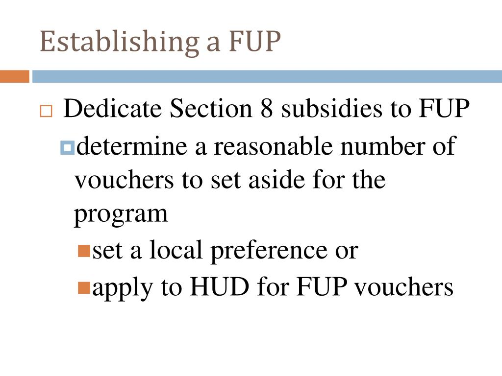 Establishing a FUP