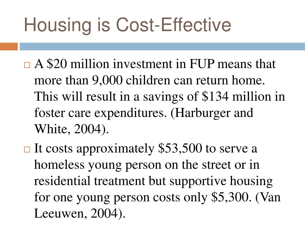 Housing is Cost-Effective