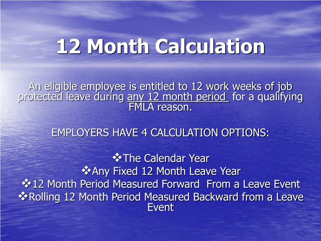 12 Month Calculation