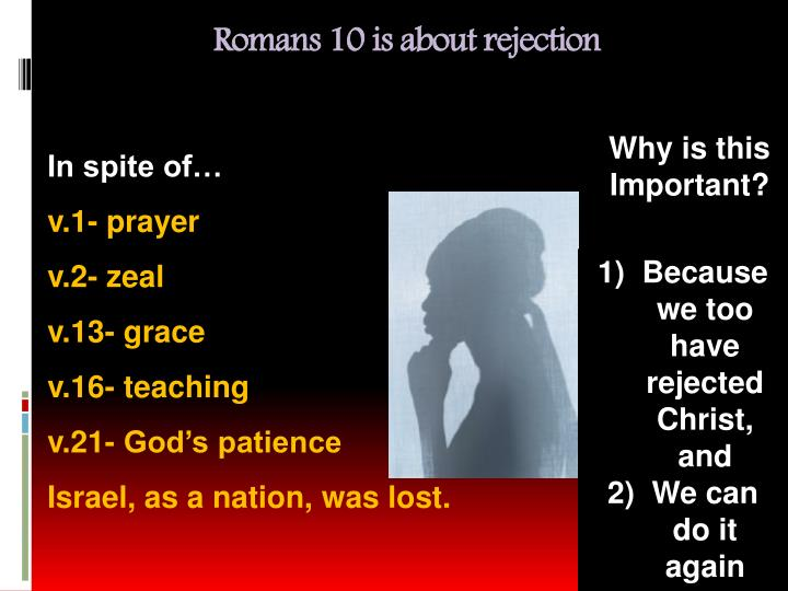Romans 10 is about rejection