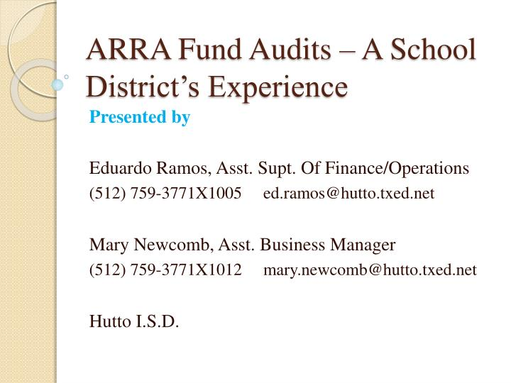 Arra fund audits a school district s experience l.jpg