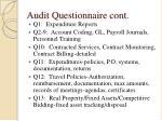 audit questionnaire cont