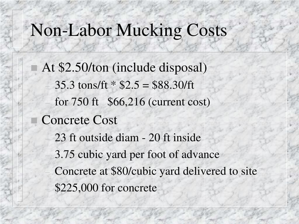 Non-Labor Mucking Costs