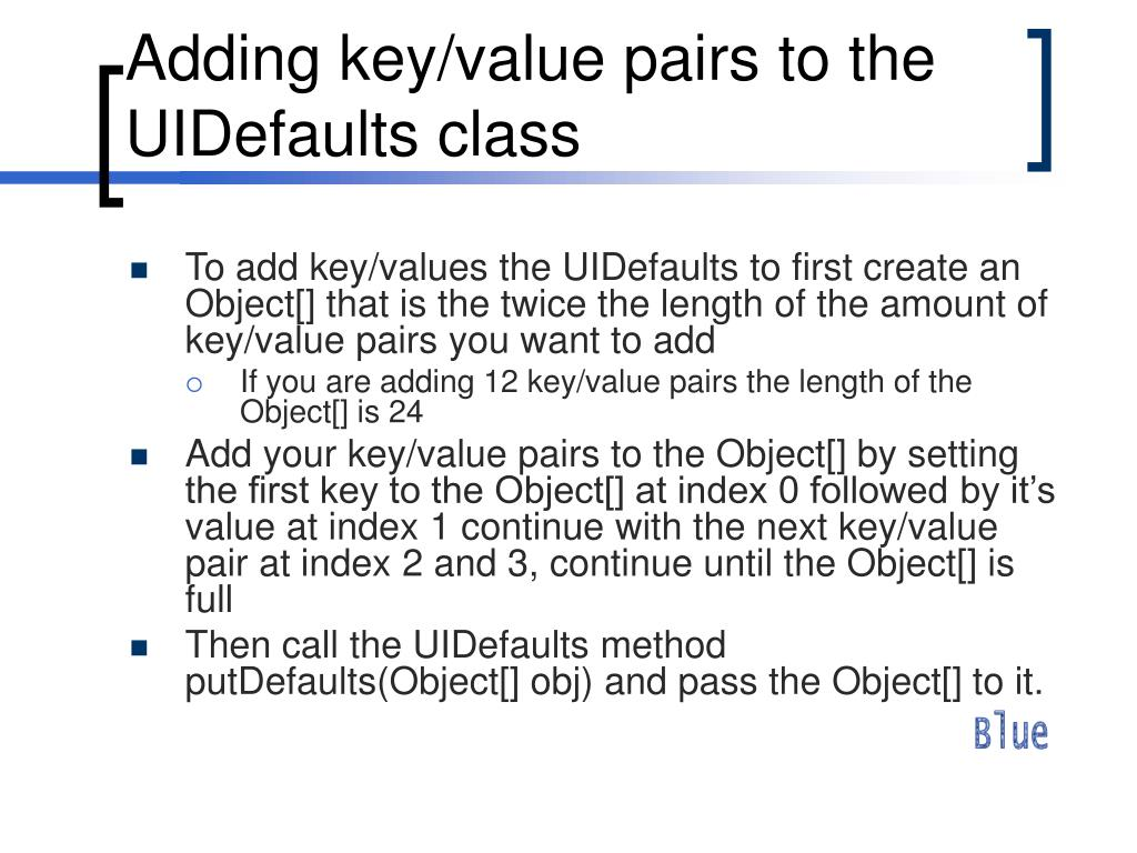 Adding key/value pairs to the UIDefaults class