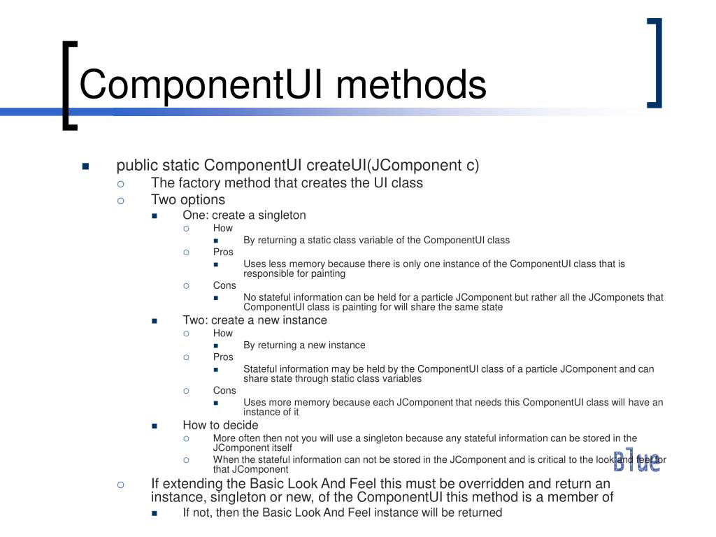 ComponentUI methods