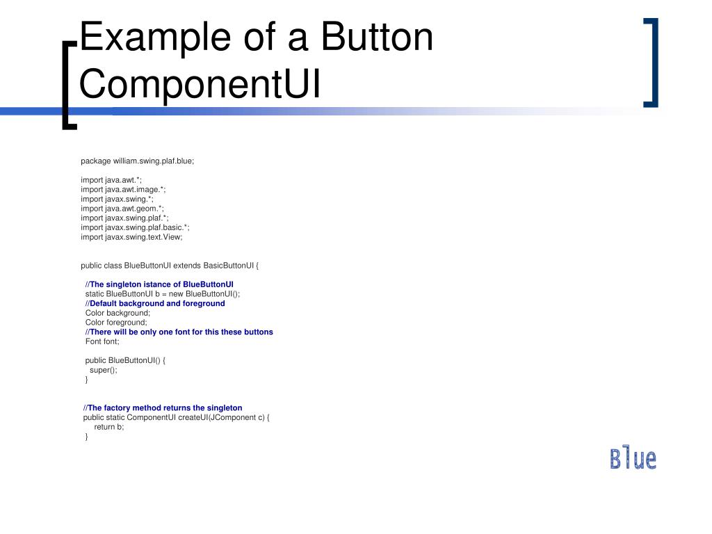 Example of a Button ComponentUI