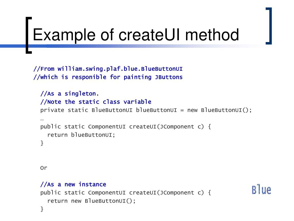 Example of createUI method