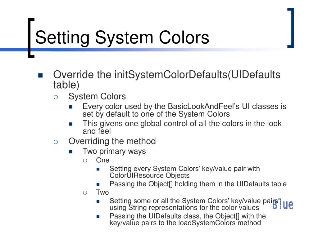 Setting System Colors