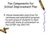 ten components for school improvement plan11
