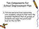 ten components for school improvement plan8