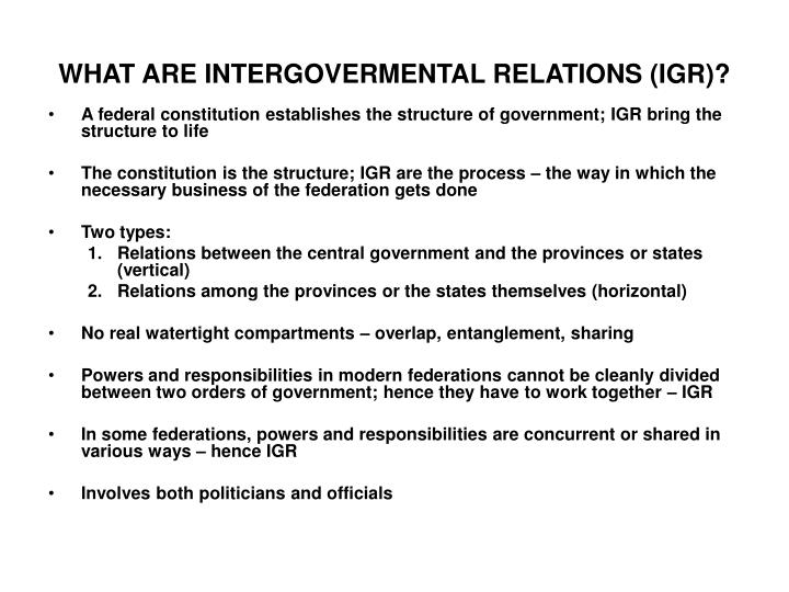 What are intergovermental relations igr
