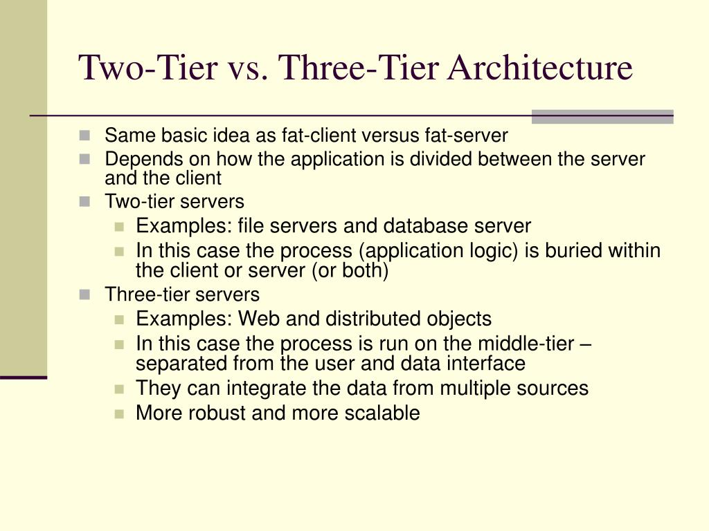 Two-Tier vs. Three-Tier Architecture