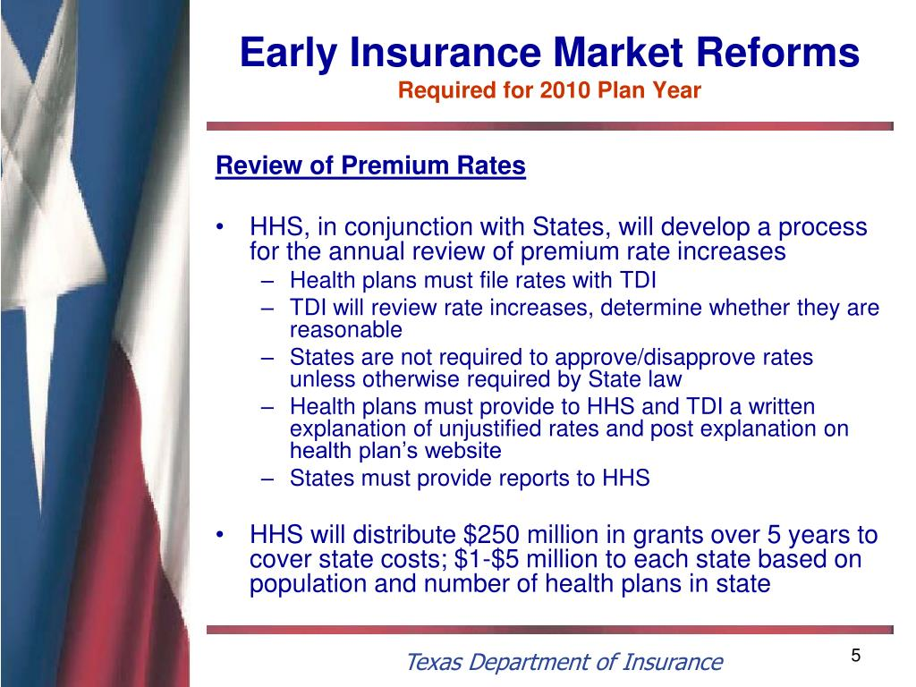 Early Insurance Market Reforms