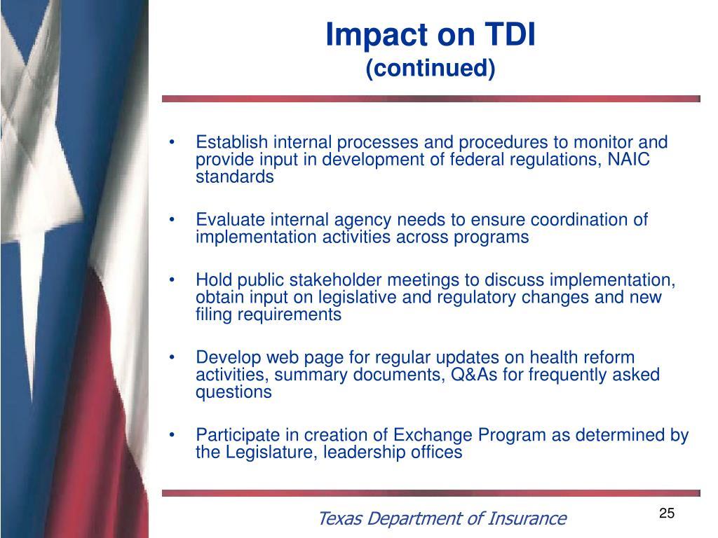 Impact on TDI