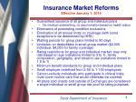 insurance market reforms effective january 1 2014