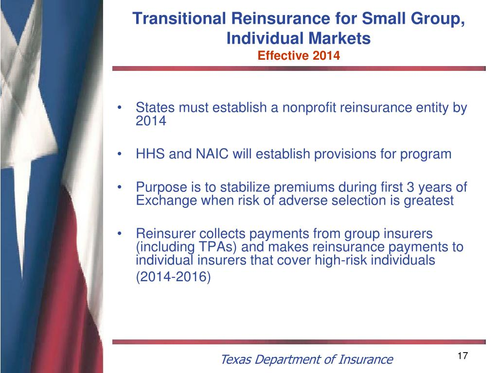 Transitional Reinsurance for Small Group, Individual Markets