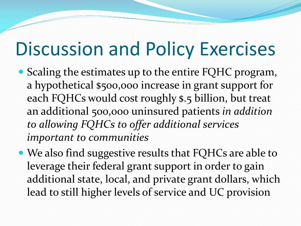 Discussion and Policy Exercises