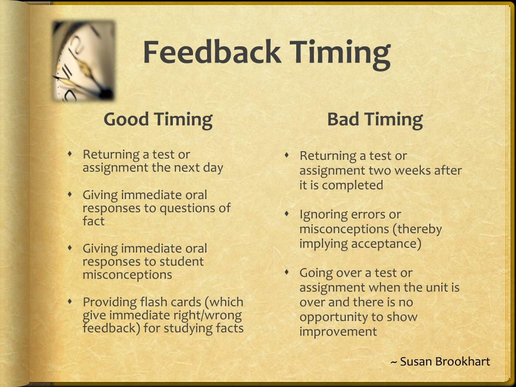 Feedback Timing