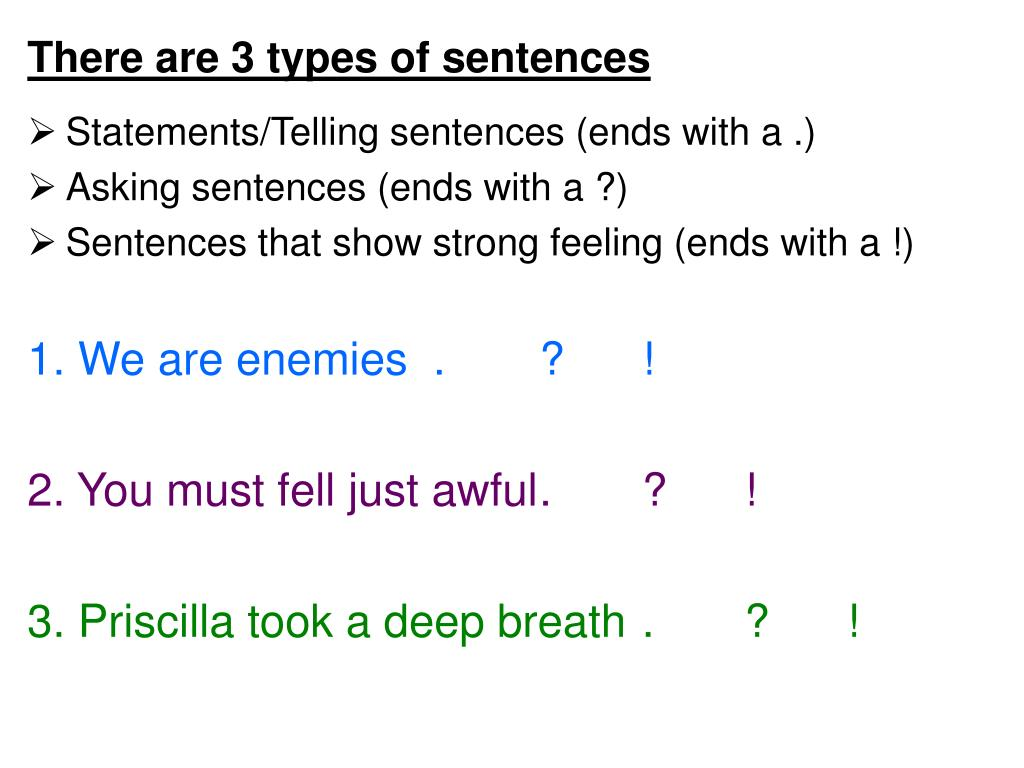 There are 3 types of sentences