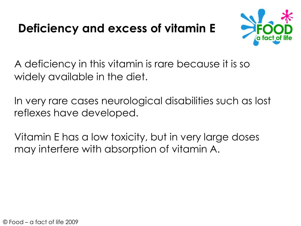 Deficiency and excess of vitamin E