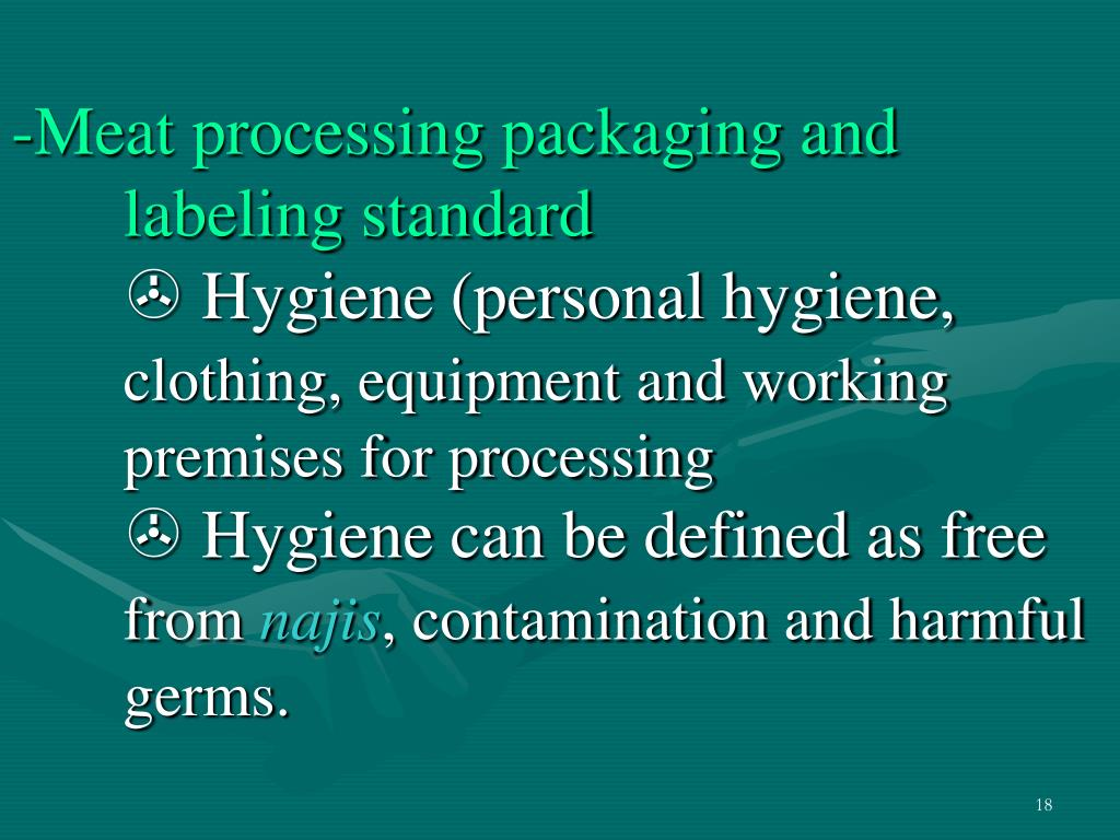 Meat processing packaging and  labeling standard
