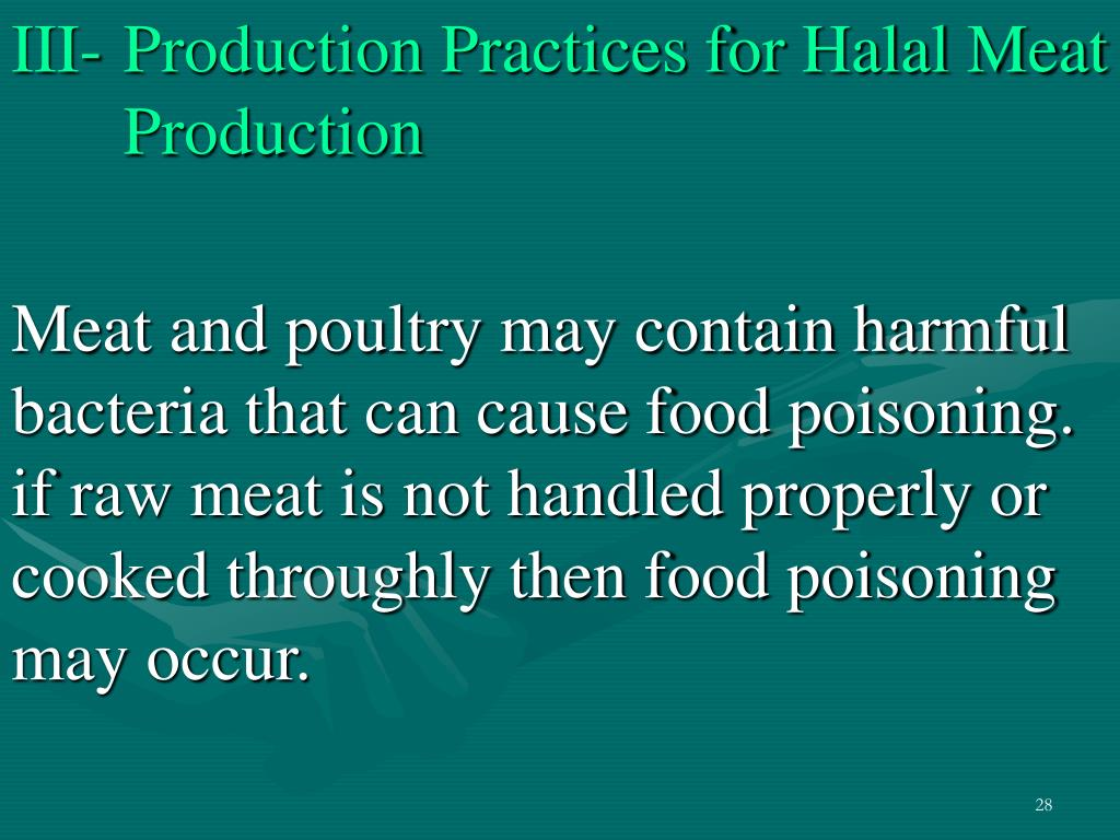 III-Production Practices for Halal Meat      Production