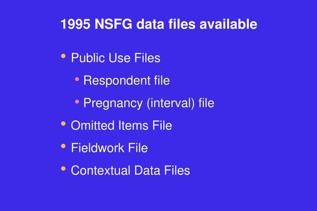 1995 NSFG data files available