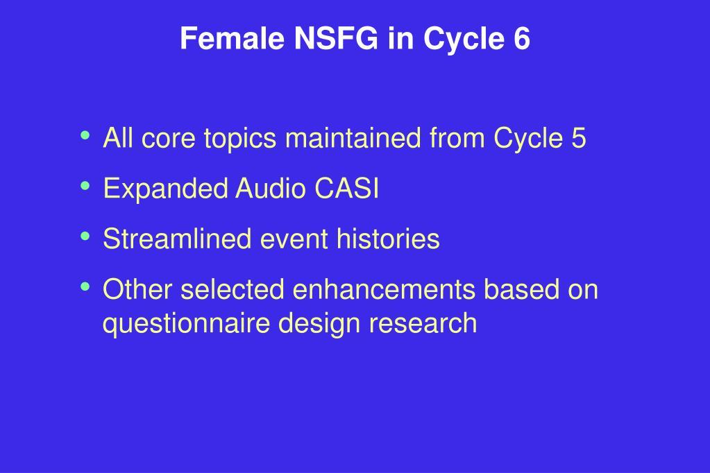Female NSFG in Cycle 6