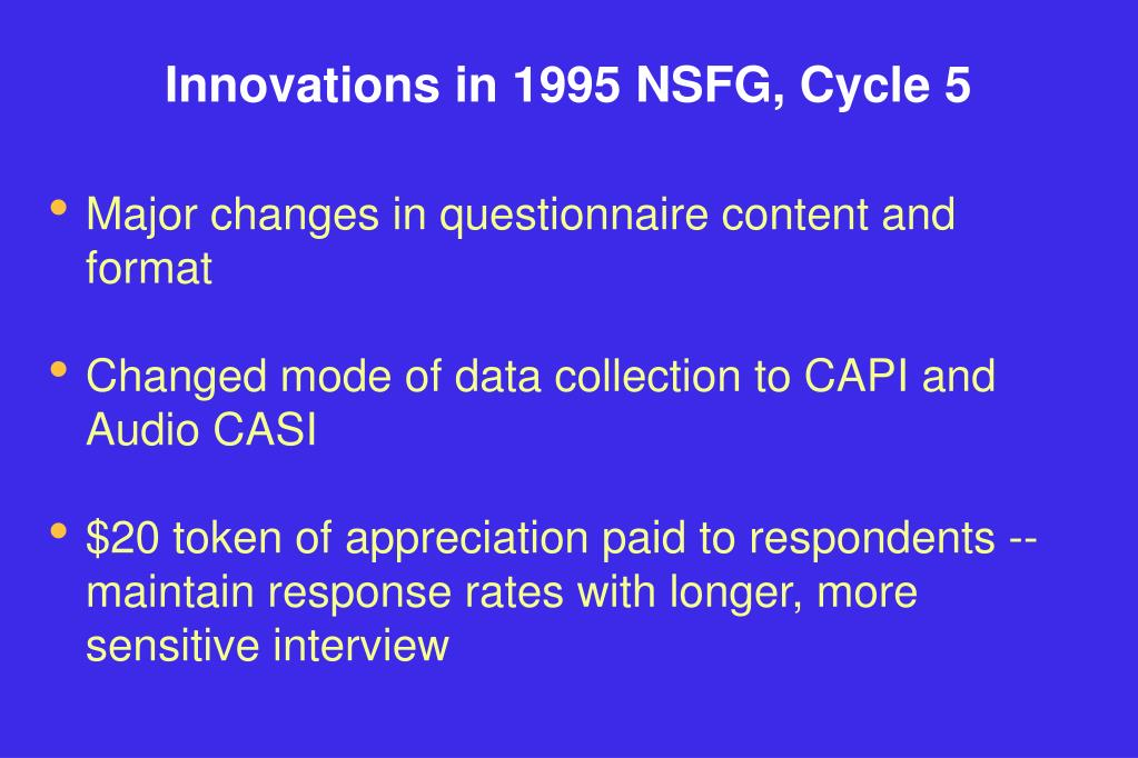 Innovations in 1995 NSFG, Cycle 5