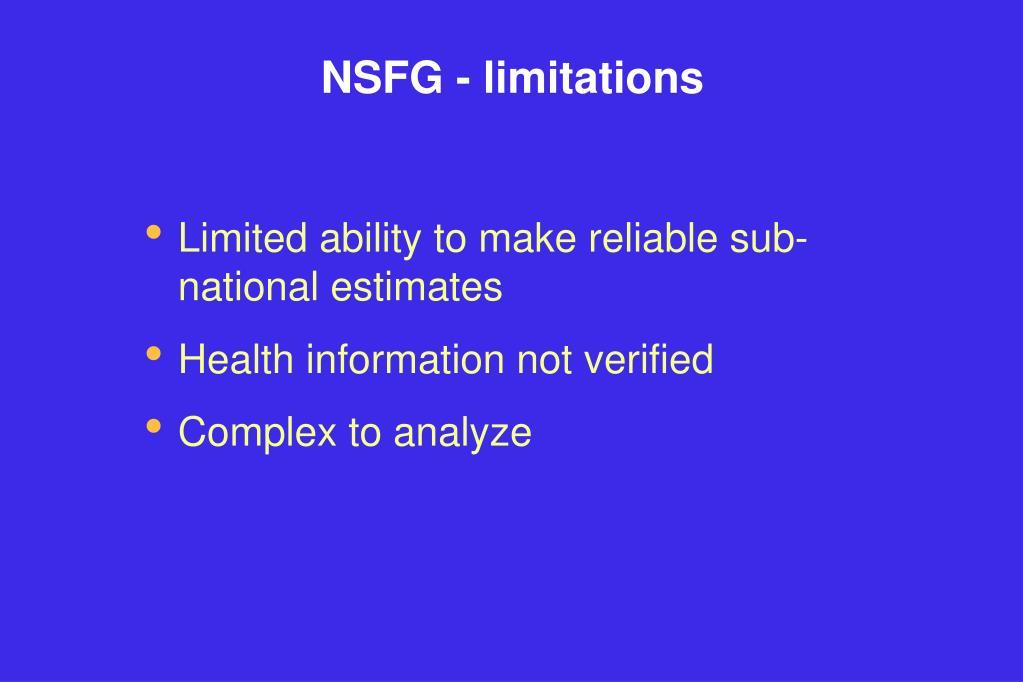 NSFG - limitations