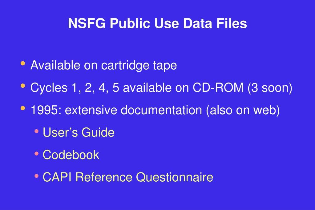 NSFG Public Use Data Files