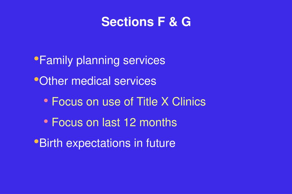 Sections F & G