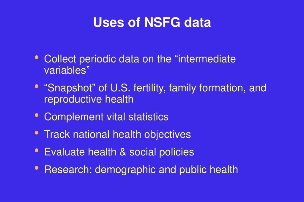 Uses of NSFG data