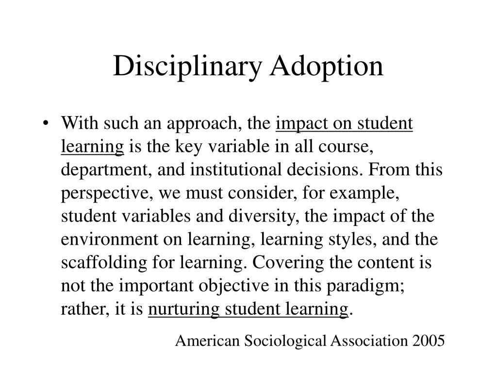 Disciplinary Adoption