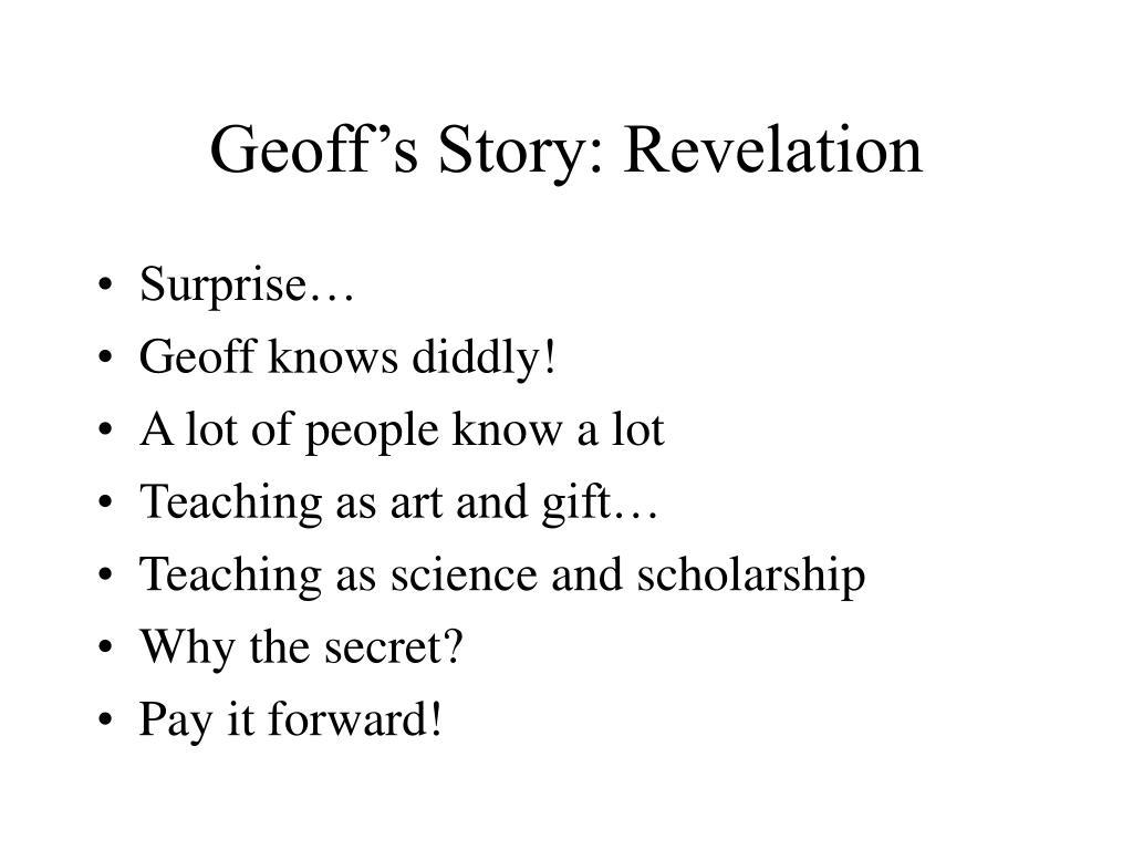 Geoff's Story: Revelation