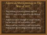 american shortcomings in the war of 1812