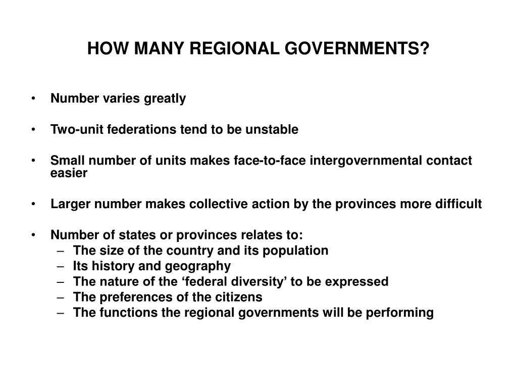 HOW MANY REGIONAL GOVERNMENTS?