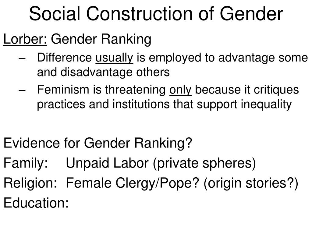 the social construction of gender in Experience these ideas are explored through case examples introduction  gender is a social construction created and maintained between men and  women.