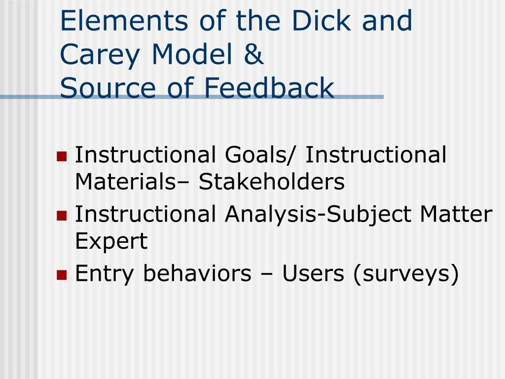 Elements of the Dick and Carey Model &