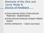 elements of the dick and carey model source of feedback