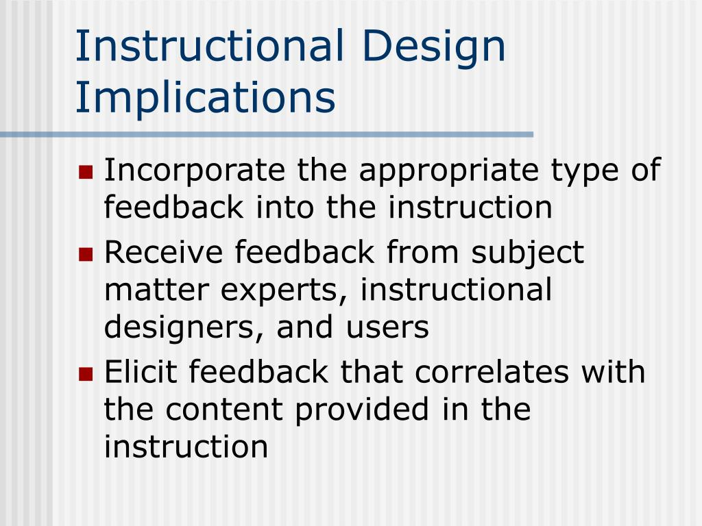 Instructional Design Implications