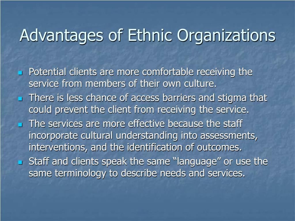 Advantages of Ethnic Organizations
