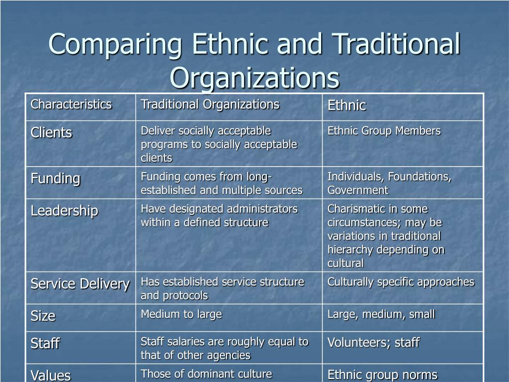 Comparing Ethnic and Traditional Organizations