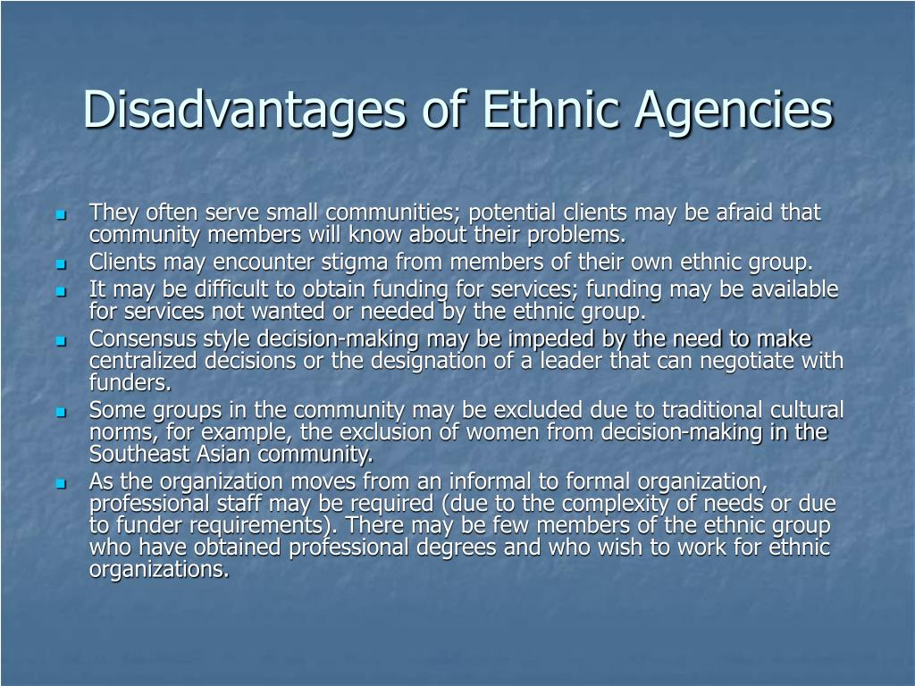 Disadvantages of Ethnic Agencies