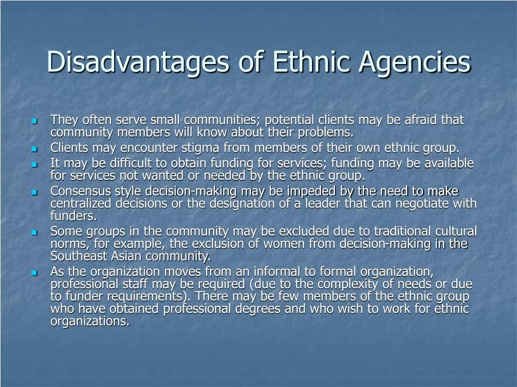 Disadvantages of Ethnic Agencies