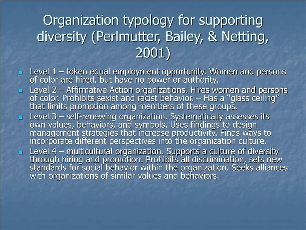 Organization typology for supporting diversity (Perlmutter, Bailey, & Netting, 2001)